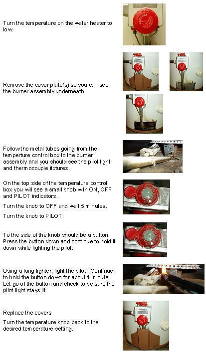 Lighting a water heater pilot light