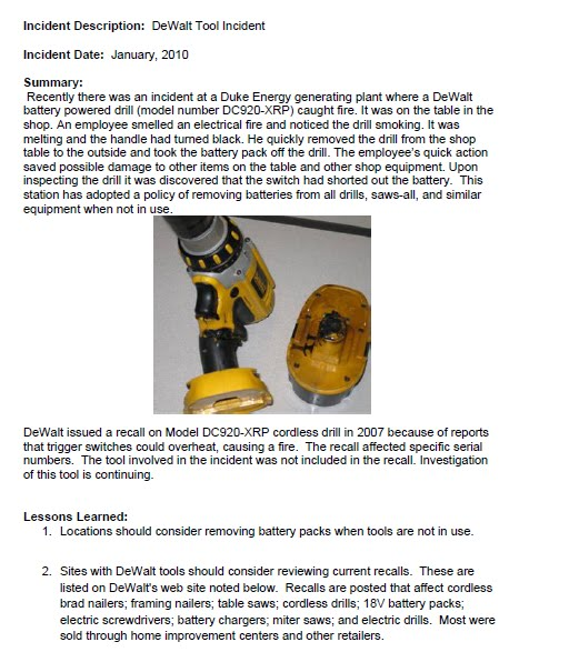 Cordless Power Tools – Important Safety Information